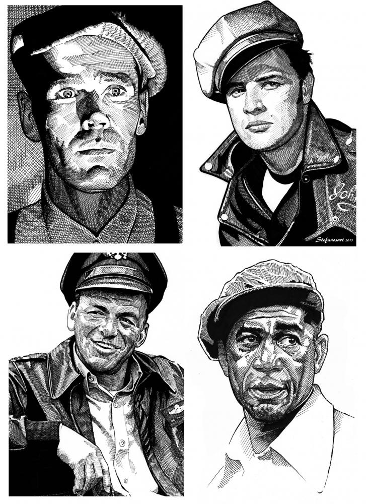 Morgan Freeman, Frank Sinatra, Marlon Brando, Henry Fonda by Stefanosart